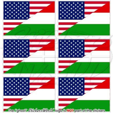 Lot de 6 mini autocollants en vinyle pour téléphone portable Motif drapeau américain et hongrois 40 mm