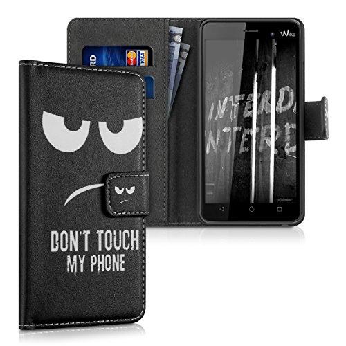 kwmobile Hülle kompatibel mit Wiko Lenny 3 - Kunstleder Wallet Case mit Kartenfächern Stand Don't Touch My Phone Weiß Schwarz