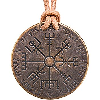 Shire Post Mint Vegvisir Norse Compass Necklace on Leather Cord