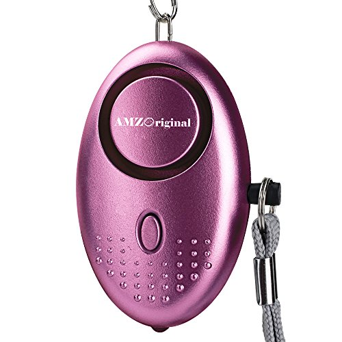 AMZ Original Emergency Personal Alarm, 135dB Super Loud Siren Self-Defense Keychain Electronic Device Security Alarm with Mini LED Flashlight for Kids Women Elderly Safety, Purple(Batteries Included)