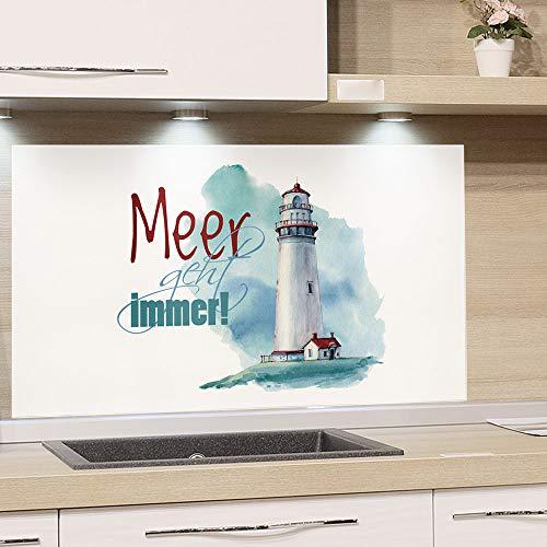 GRAZDesign Spritzschutz Küche Herd, Leuchtturm mit Spruch, Küchenrückwand aus Echtglas / 80x60cm