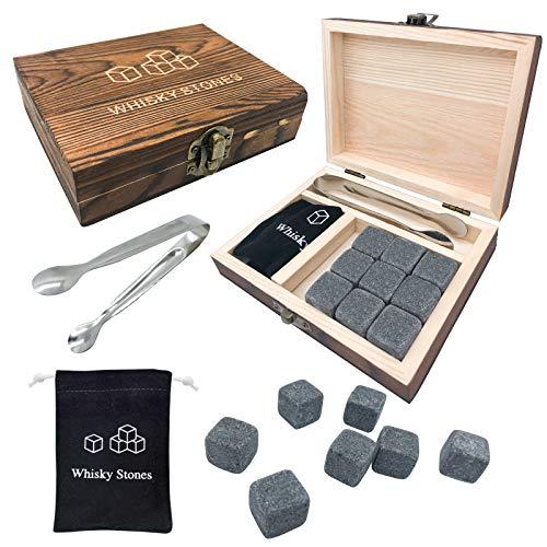 Whisky Stones Set di Regalo Cubetti di ghiaccio riutilizzabili con scatola di legno Comprese le pinze e la borsa di stoffa