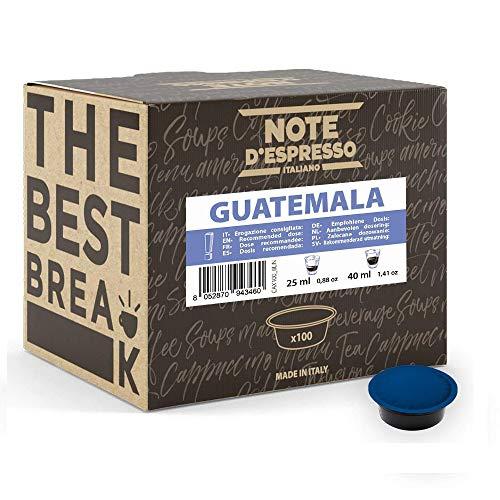 Note d'Espresso - Cápsulas de café para las cafeteras Lavazza y A Modo Mio, Guatemala, 7 g (caja de 100 unidades)