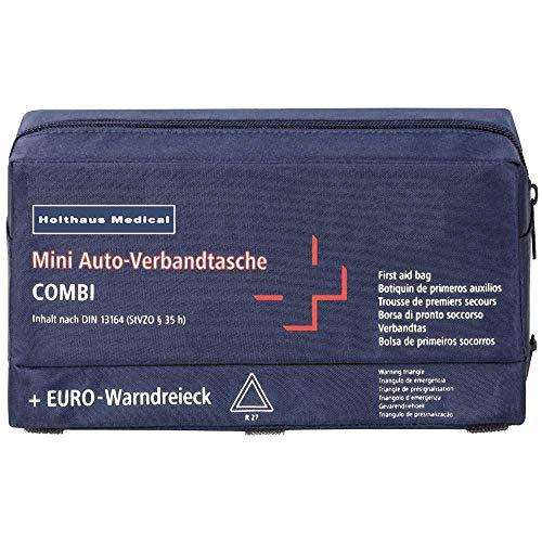 Holthaus Medical Mini COMBI Verbandtasche Erste-Hilfe Verbandskasten, KFZ, DIN13164, Warndreieck