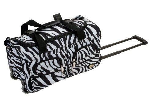 Rockland Rolling Duffel Bag, Zebra, 22-Inch