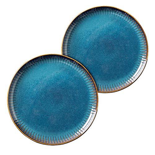 Hoteck 2er Set Pastateller Keramik, Speiseteller oder Frühstücksteller runder Essteller aus hochwertigem Porzellan 21.5cm (Blau)