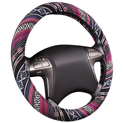 CAR PASS Universal Estilo étnico cuero Microfibra Suave Funda para Volante Cubierta del Volante del Coche Universal Diámetro 38cm (15')