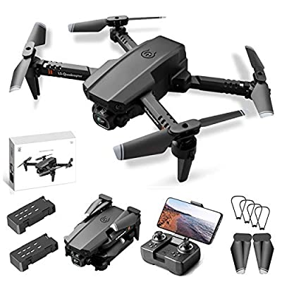 Hantehon Mini Drone with Camera Foldable RC Drones for Beginners Ultralight Drone with HD Camera, 3D Flips, WiFi FPV, LED Light, Dual Camera, Headless Mode, 2 Batteries Pack by Hantehon