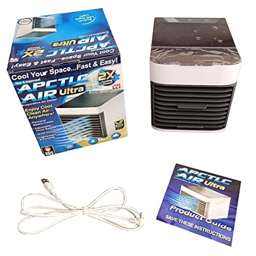 Portable air conditioner fan, mini personal air cooler fan with 3-speed mode, small humidifier air cooler desktop fan