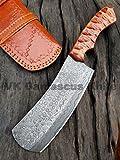 Handmade Damascus Steel Cleaver Chopper Knife Rain Drop Pattern 12 Inches VK6137