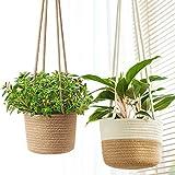 Zunbo Cestino da giardino sospeso, vaso per fiori in tessuto, per piante da interni, ecologico (colore naturale)