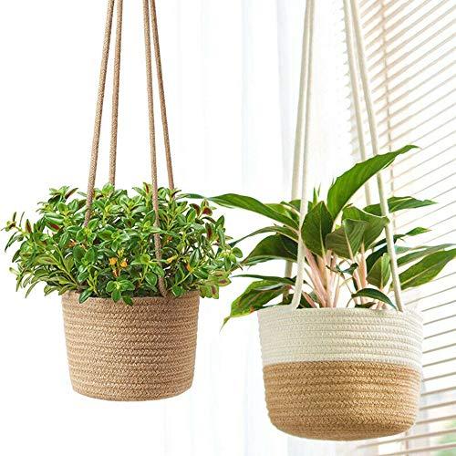 Zunbo - Cesta colgante para macetas colgantes con forma de macetas de interior, ecológicas (color original)