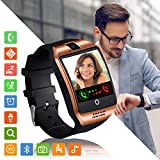 Tipmant Smartwatch Orologio Fitness Uomo Donna Smart Watch Android Touch Screen Orologi con SIM Slot Contapassi Calorie Sport Smartband Fitness Activity Tracker per Samsung Huawei Xiaomi LG (oro)