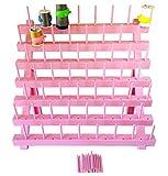 Soporte de plastico rosa/verde 56 bobinas de hilo