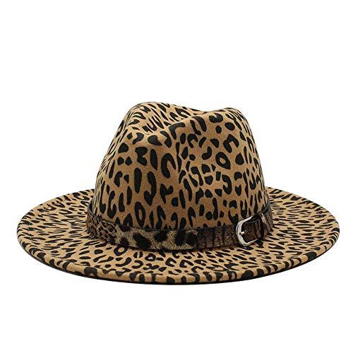 no-branded Fedora Hat Mujer Hombre Algodón Fedora Sombrero Caballero Elegante Invierno Otoño Ancho Ala Jazz Leopardo Hebilla Cinturón Iglesia Panamá Sombrero LJPEUR (Color: 3, Tamaño: 56-59cm)