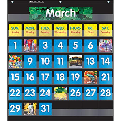 Scholastic SC-583866 Monthly Calendar Pocket Chart with Cards, Black