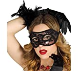 Guirca - Mscara de encaje sexy Domino Veneciano, color negro, 12701