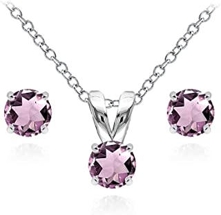 Sterling Silver Genuine, Simulated or Created Gemstone 5mm Round Solitaire Pendant Necklace & Stud Earrings Set