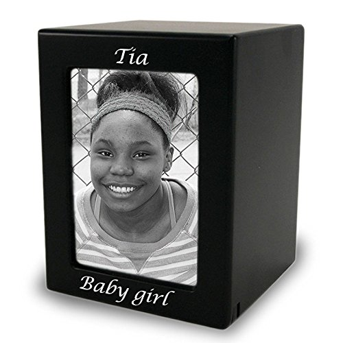 OneWorld Memorials Photo Frame Wood Photo Cremation Urn - Medium - Holds Up to 85 Cubic Inches of Ashes - Modern Black - Engraving Sold Separately