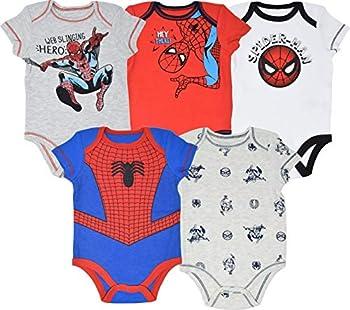 Marvel Spiderman Baby Boys Short Sleeve 5 Pack Bodysuits 24 Months