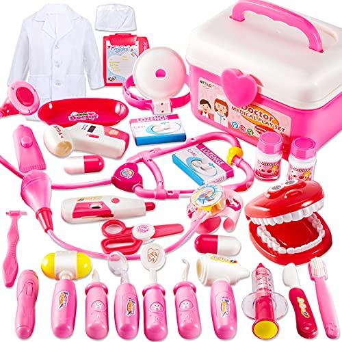 BUYGER Kit de Doctora Maletin Medicos Juguete para Nios Nias 3 4 5 Aos, Juego Enfermera y Dentista, Regalo Educativos