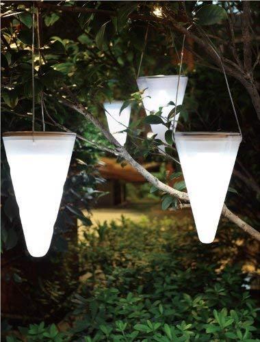 Solalux 3er Set Hängende Kegelförmige Solar-Gartenleuchten Eis Weiß LED-Leuchten Außenbeleuchtung, Baumdekoration
