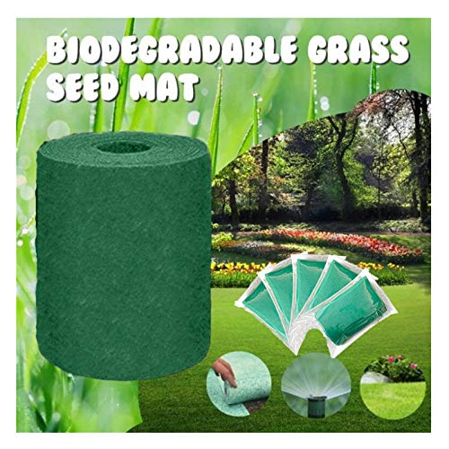 Grass Planting Germination Mats, Biodegradable Grass Seed Mat, Year Round Green Perfect seeding All in One Growing Solution, Quick Fix Roll & Grow Garden Backyard Picnic Lawns, 20×300cm (5PC)