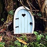 3.9'' Fairy Garden Door Accessories Blue Love Heart Doors Wooden Miniature Toy Door Fairy-Tale Decoration Wall Garden Lawn Outdoor Mystical Decor for Tree Trunk Indoor Art Craft Statue