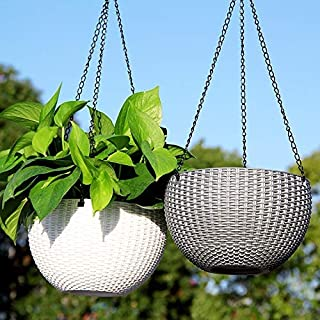 EaglesFord Flower Pot Hanging Basket With Hook Chain For Home Gardener Office Balcony Grower Planter - Pack of 2 - Assorted Color