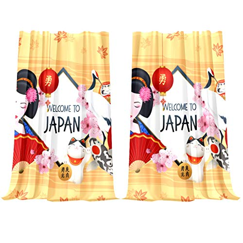 Dragon Sword Japanese Geisha Lucky Cat Carps Carps Fuji Mountain Sheer Curtains for Living Room, Rod Pocket Window Treatment Curtain Sheer Voile Panel for Bedroom, 1 Pair, 55 x 78 Inch