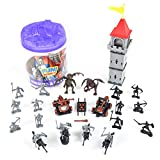 Sunny Days Entertainment Knights and Dragons Figures in Bucket – 42 Assorted Soldiers and Accessories Toy Play Set for Kids, Boys and Girls | Plastic Fantasy Figurines with Storage Container