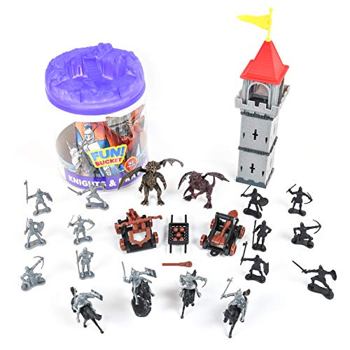 Sunny Days Entertainment Knights and Dragons Figures in Bucket – 42 Assorted Soldiers and Accessories Toy Play Set for Kids, Boys and Girls   Plastic Fantasy Figurines with Storage Container