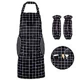Grembiule da Cucina, Grembiule da Ristorante BBQ Bar Chef Cucina,Regolabile Grembiuli Con 2 tasche e maniche Chef di Cucina,Gembiule Cucina Uomo Donna