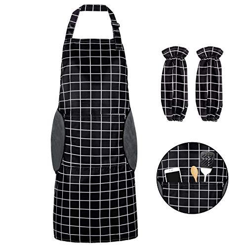 Renfox Delantal de Cocina Impermeable con Bolsillos Correa para el Cuello Ajustable Delantales Hombre Mujer Delantal Cocinero Mandil Cocina para Jardinería Restaurante Barbacoa Cocinar Hornear