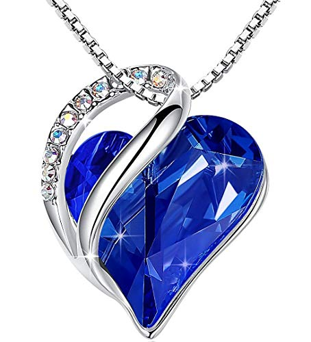 Leafael Infinity Love Heart Pendant Necklace with Lapis Lazuli Cobalt Blue Birthstone Crystal for September, Healing Stone for Wisdom, Jewelry Gifts for Women, Silver-Tone, 18'+2'