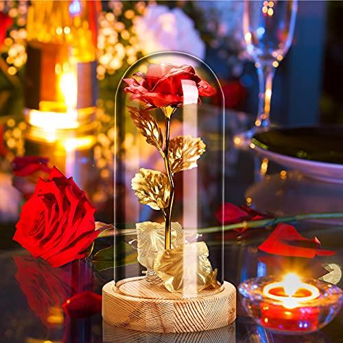 Kit de Rosas,La Bella y La Bestia Rosa Encantada,Rosa Eterna, Elegante Cúpula de Cristal con Base Pino Luces LED,Beauty and Regalos Magicos Decoración para Día de San Valentín Aniversario Bodas