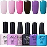 Elite99 Esmaltes Semipermanentes de Uñas en Gel UV LED, 6pcs Kit de Esmaltes de Uñas en Gel Soak Off 003