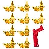 LUTER 20 Piezas 1/4 Pulgada Track Spikes Atletismo Clavos con Llave de Púas Repuesto Acero Inoxidable para Calzado Deportivo Salto de Longitud Atletismo en Pista y Campo (Oro)