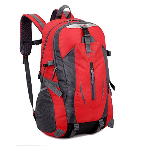 MJY Im Freien kletternder Taschenmann- und -frauenreisetaschen-Rucksack Arbeiten Rucksack der Großen Kapazität 40L Um,Rot,52 * 33 * 18cm
