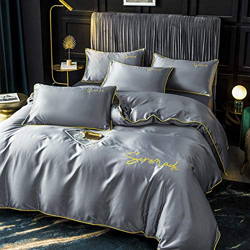 Complete Bedding Sets ,Ice silk four-piece European-style silky bare sleeping silk bed sheet quilt cover spring and summer washed silk-Dark gray 1_1.5 bed sheet four-piece quilt cover 200*230