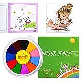 Kit de peinture à doigts pour enfants - Kit de peinture au doigt - Jouet de dessin - Kit d'outils pédagogique - Peinture lavable et non toxique pour enfants - 12 couleurs avec livre de coloriage