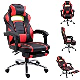 EUCO Racing Gaming Chair with Footrest,Reclining Computer Desk Chair Leather PC Chair Swivel Office Chair with Adjustable Headrest and Retractible Footrest,Lumbar Support,Black&Red(with Footrest)