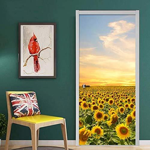 Pegatinas de puerta de paisaje 3D, puerta de dormitorio, puerta de sala de estar, puerta de baño, puerta de cocina, papel tapiz de puerta DIY, adhesivo 77 * 200cm