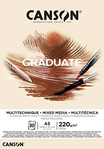 Bloc Encolado A5 30H Canson Graduate Mix Media Fino 220g Ocre