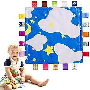 Paño para la dentición del bebé, juguete para la dentición, mordedor - Manta de seguridad, Manta reconfortante - Manta relajante - Patrones lindos y cintas de colores Ayuda a calmarse mejor - Azul