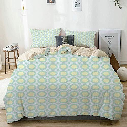 Juego de funda nórdica beige, círculos retro, puntos interiores, ilustraciones horizontales inspiradas en los años 60 y 70, juego de cama decorativo de 3 piezas con 2 fundas de almohada, fácil cuidado