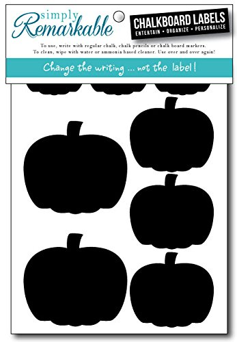 "Simply Remarkable Reusable Chalk Labels - 32 Pumpkin Shape Adhesive Chalkboard Stickers, Light Material with Removable Adhesive and Smooth Writing Surface, 3 Sizes From 1"" to 2.5"" - Can be Wiped Clean and Reused, For Personalized Fall and Thanksgiving Hostess Gifts, Wedding and Party Favors, Crafts, Organizing"