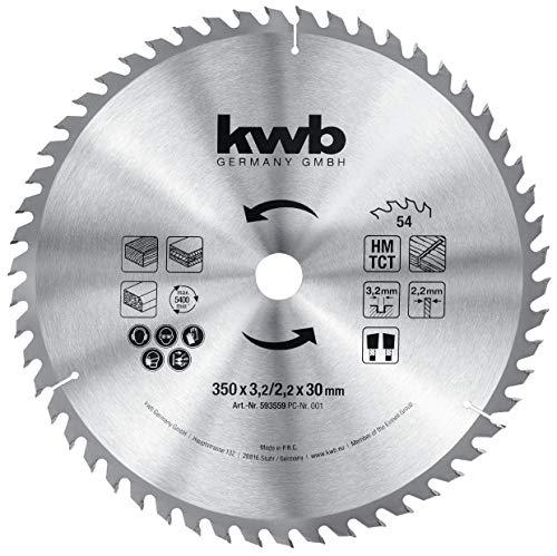 kwb 593559 - Lama per sega circolare, 350 x 30 mm, per seghe circolari da tavolo, denti alternati per taglio medio, Z-54, 350 x 30 mm