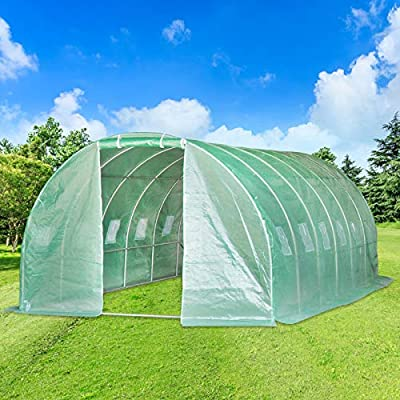 Aoxun 20'x10'x7' Large Walk-in Garden Greenhouse, Hot House Portable for Plants Outdoor in Winter with 6 Roll-Up Windows, Tunnel Greenhouse,Green