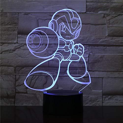 Nur 1 Stück Standalone-Spiel USB 3D LED Nachtlicht Multicolor RGB dekorative Licht Jungen Kind Kinder Baby Geschenke Spiel Megaman Tischlampe Nachttisch
